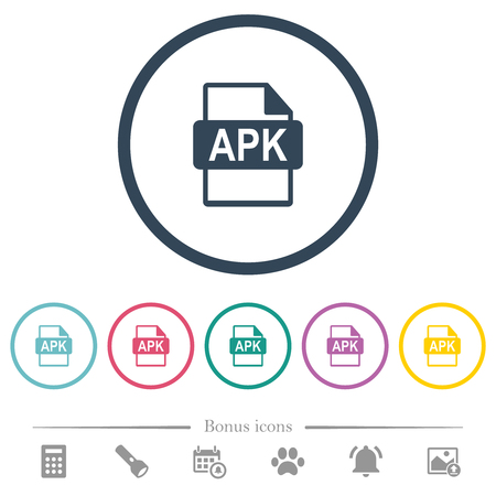 APK file format flat color icons in round outlines. 6 bonus icons included.