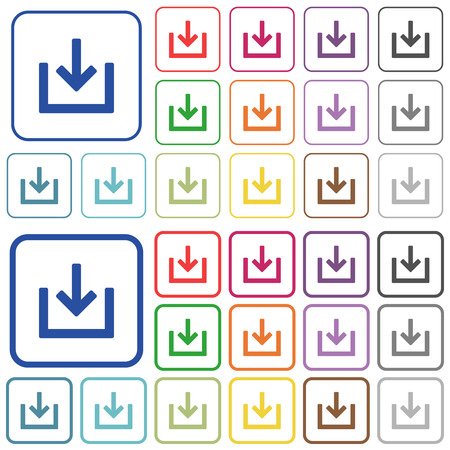 Import item color flat icons in rounded square frames. Thin and thick versions included. Illustration