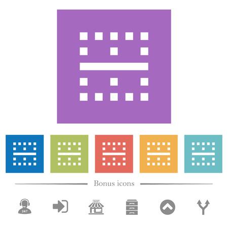 Horizontal border flat white icons in square backgrounds. 6 bonus icons included.
