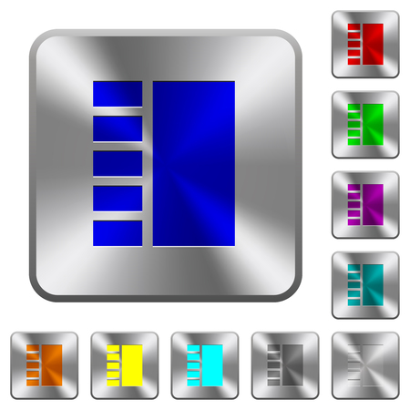 Vertical tabbed layout engraved icons on rounded square glossy steel buttons