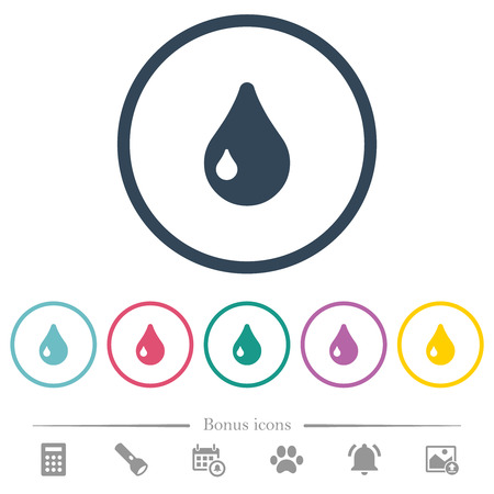 Single drop flat color icons in round outlines. 6 bonus icons included.