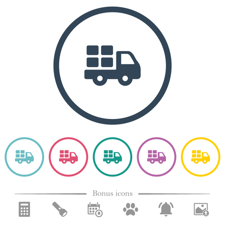 Transport flat color icons in round outlines. 6 bonus icons included. Illustration