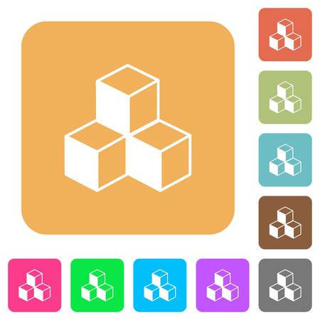 Cubes flat icons on rounded square vivid color backgrounds.