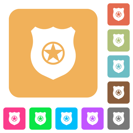 Police badge flat icons on rounded square vivid color backgrounds. Illustration