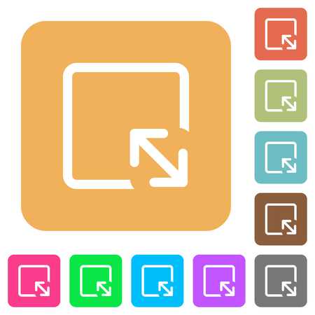 Resize object flat icons on rounded square vivid color backgrounds. Иллюстрация