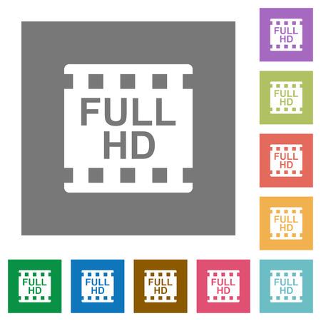 Full HD movie format flat icons on simple color square backgrounds  イラスト・ベクター素材