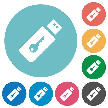 Hardware key flat white icons on round color backgrounds Ilustração