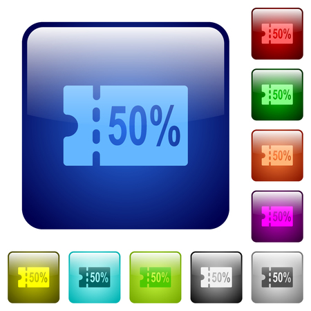 50 percent discount coupon icons in rounded square color glossy button set