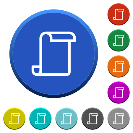 Blank paper scroll round color beveled buttons with smooth surfaces and flat white icons Ilustrace