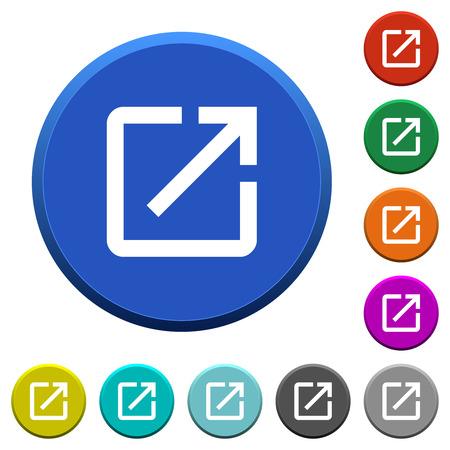 Avvia l'applicazione con pulsanti smussati a colori rotondi con superfici lisce e icone bianche piatte