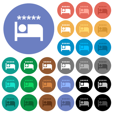 Luxury hotel multi colored flat icons on round backgrounds. Included white, light and dark icon variations for hover and active status effects, and bonus shades.