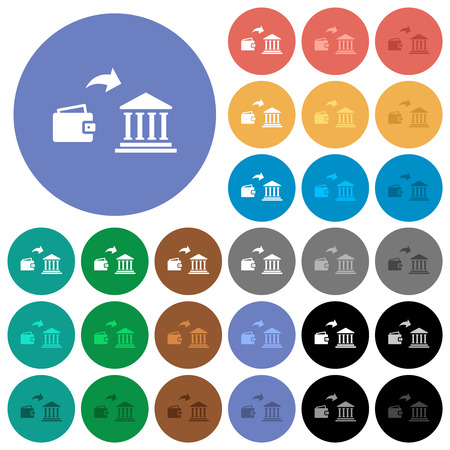 Money deposit to bank multi colored flat icons on round backgrounds. Included white, light and dark icon variations for hover and active status effects, and bonus shades. Illustration