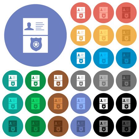 Police id and badge multi colored flat icons on round backgrounds. Included white, light and dark icon variations for hover and active status effects, and bonus shades.