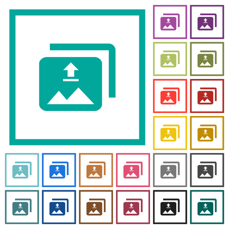 Upload multiple images flat color icons with quadrant frames on white background Vector Illustratie