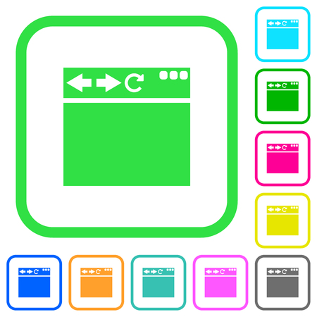 Empty browser window vivid colored flat icons in curved borders on white background