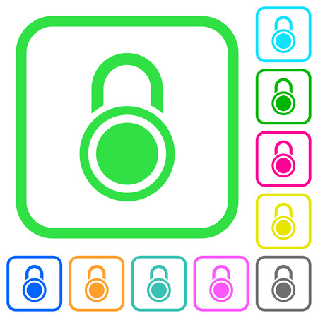 Locked round padlock vivid colored flat icons in curved borders on white background