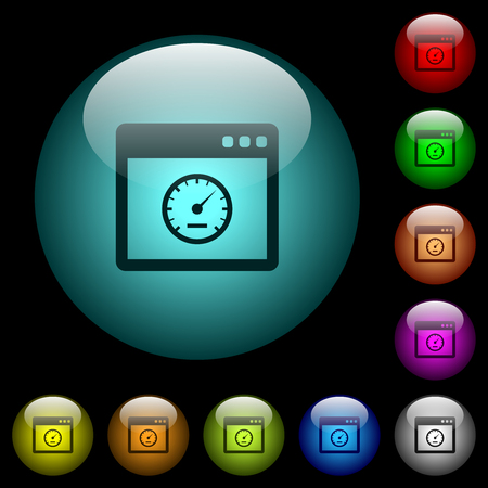 Application speed icons in color illuminated spherical glass buttons on black background. Can be used to black or dark templates Illusztráció