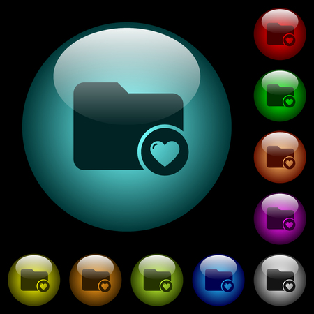 Favorite directory icons in color illuminated spherical glass buttons on black background. Can be used to black or dark templates