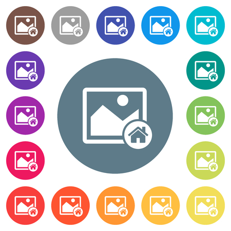 Default image flat white icons on round color backgrounds. 17 background color variations are included.