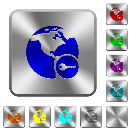 Secure internet surfing engraved icons on rounded square glossy steel buttons