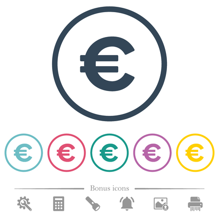 Euro sign flat color icons in round outlines. 6 bonus icons included. Stock Illustratie