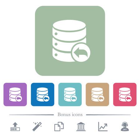 Database transaction rollback white flat icons on color rounded square backgrounds. 6 bonus icons included