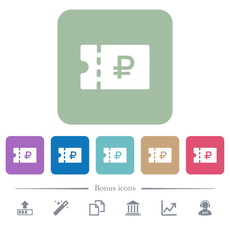 Russian Ruble discount coupon white flat icons on color rounded square backgrounds. 6 bonus icons included