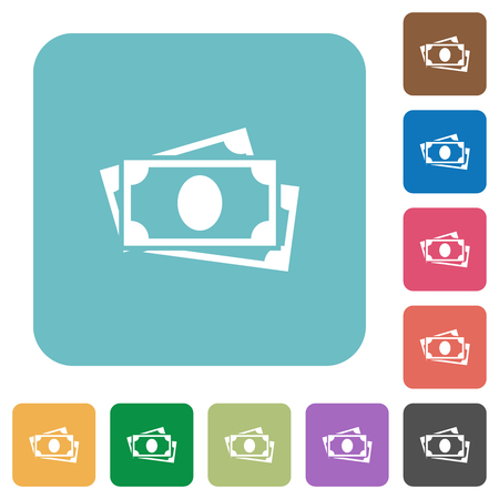 More banknotes white flat icons on color rounded square backgrounds