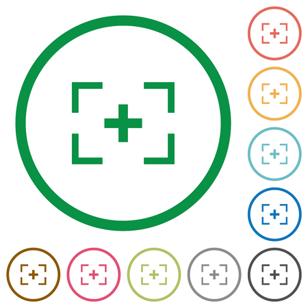 Camera crosshairs flat color icons in round outlines on white background