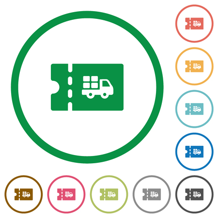 Delivery discount coupon flat color icons in round outlines on white background