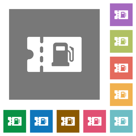 Fueling discount coupon flat icons on simple color square backgrounds Ilustración de vector