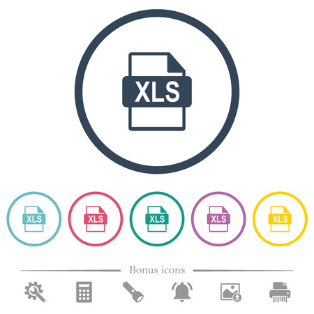 XLS file format flat color icons in round outlines. 6 bonus icons included.