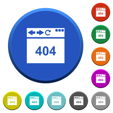 Browser 404 page not found round color beveled buttons with smooth surfaces and flat white icons
