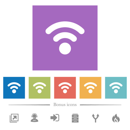 Radio signal flat white icons in square backgrounds. 6 bonus icons included.