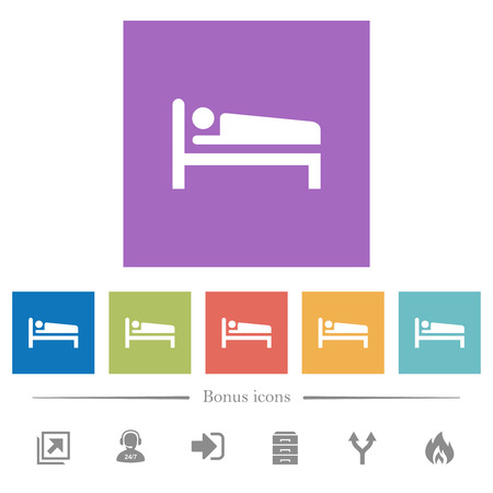 Sleeping man flat white icons in square backgrounds. 6 bonus icons included.