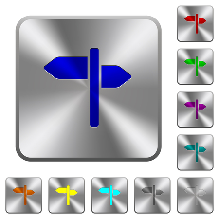 Signpost engraved icons on rounded square glossy steel buttons