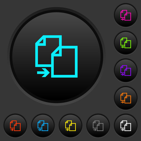 Copy item dark push buttons with vivid color icons on dark grey background