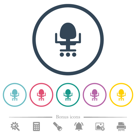 Office chair flat color icons in round outlines. 6 bonus icons included.
