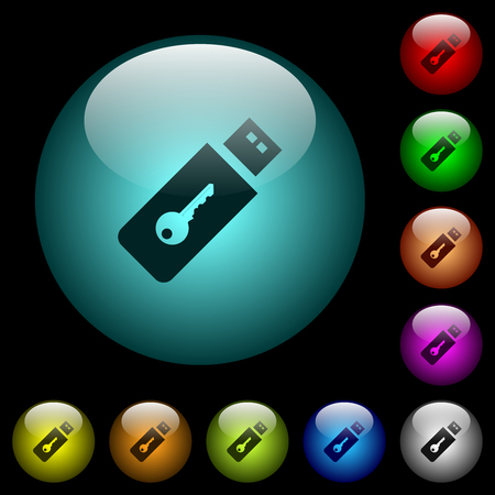 Hardware key icons in color illuminated spherical glass buttons on black background. Can be used to black or dark templates Vetores