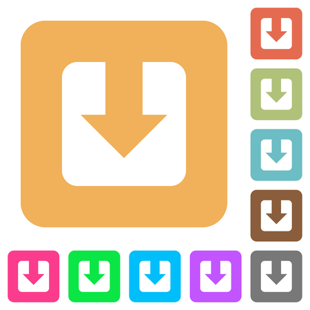Download flat icons on rounded square vivid color backgrounds.