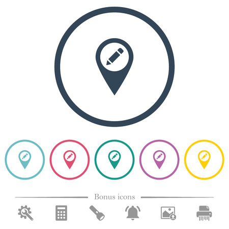 Rename GPS map location flat color icons in round outlines. 6 bonus icons included. Vecteurs