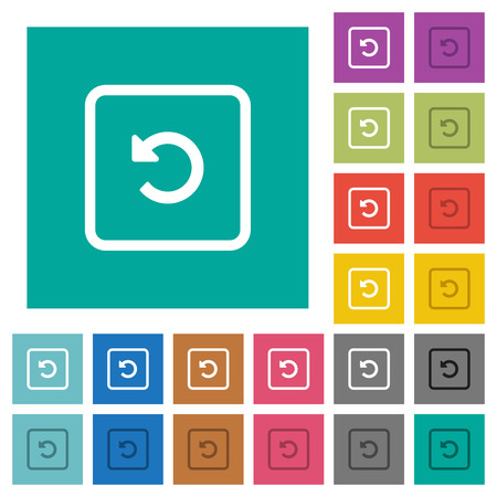 Rotate object left multi colored flat icons on plain square backgrounds. Included white and darker icon variations for hover or active effects.