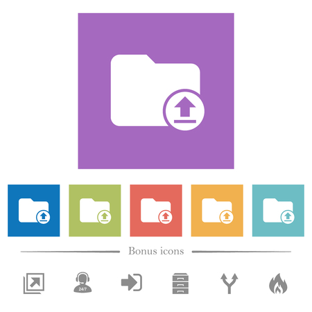 Upload directory flat white icons in square backgrounds. 6 bonus icons included.