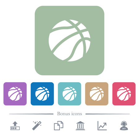 Basketball white flat icons on color rounded square backgrounds. 6 bonus icons included Illusztráció