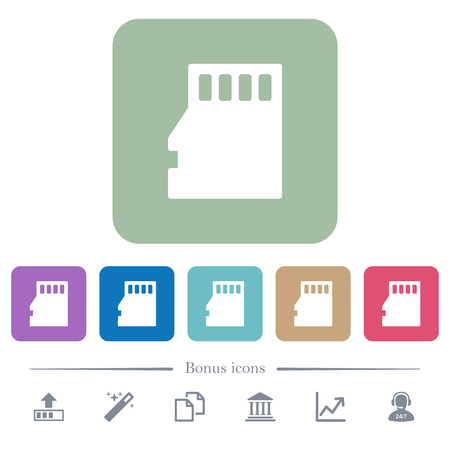 Micro SD memory card white flat icons on color rounded square backgrounds. 6 bonus icons included Vektorgrafik