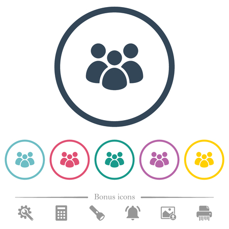 Team flat color icons in round outlines. 6 bonus icons included.