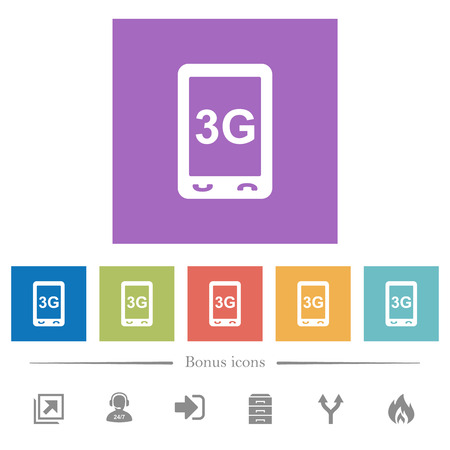 Third generation mobile connection speed flat white icons in square backgrounds. 6 bonus icons included.