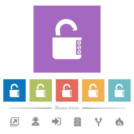 Unlocked combination lock with side numbers flat white icons in square backgrounds. 6 bonus icons included.
