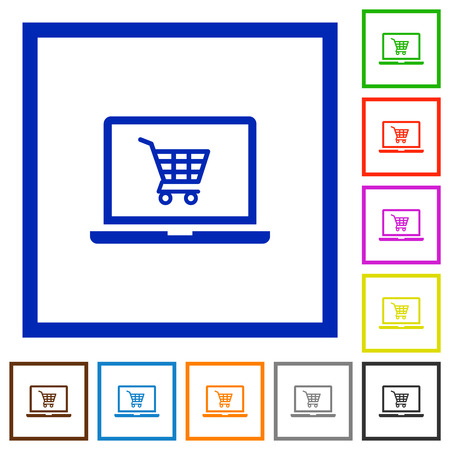 Webshop flat color icons in square frames on white background