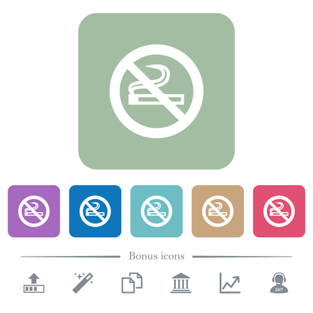 No smoking sign white flat icons on color rounded square backgrounds. 6 bonus icons included